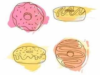 矢量甜甜圈插画。 4手绘甜甜圈与多彩水彩溅起的一套。甜酥皮点心集合。
