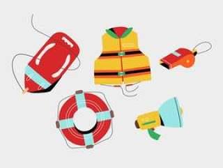 救生员工具和东西安全矢量平面插画包