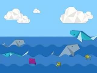 折纸动物背景图