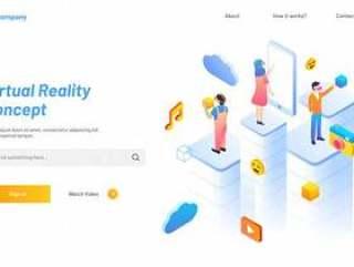 基于虚拟现实概念的登陆页面矢量素材下载