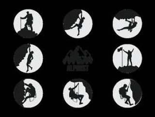 登山运动员登山者剪影矢量
