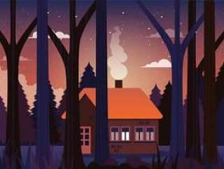 在森林例证的向量房子