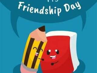 与可爱的卡通文具的友谊日