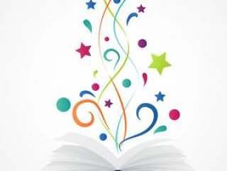 书打开.abstract与五颜六色的星和波