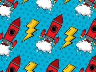 复古漫画波普艺术背景火箭崩溃的装饰