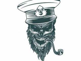 Skull captain with a pipe