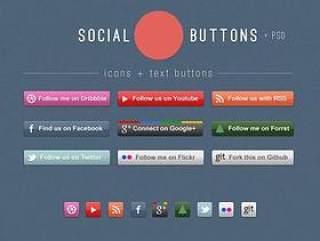 网页社交按钮PSD分层