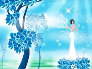 阳光蓝色背景树下穿白裙子的女人PSD分层插画
