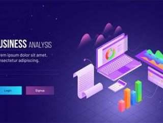 公司成长或成功的概念网页模板矢量素材下载