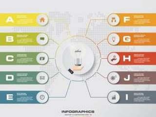 10步现代图表infographics元素。