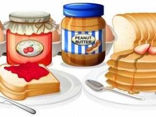 在白色背景上的健康早餐