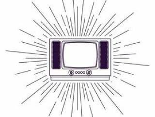 复古电视海报上森伯斯特背景