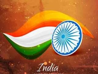 旧纸印度国旗矢量设计插画
