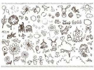 手写的少女可爱的插图材料鸟