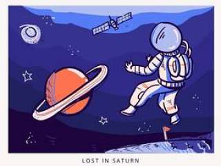 遇见土星涂鸦插图宇航员迷失在太空中