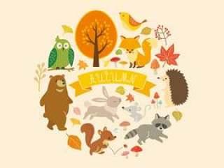 秋天的动物和植物插图(2)