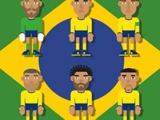 巴西足球字符平插图矢量