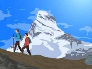 与远足者传染媒介的阿尔卑斯马塔角山