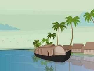 船在喀拉拉邦矢量图