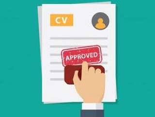 工作申请获得批准,人们手工加盖工作申请表上的批准文字