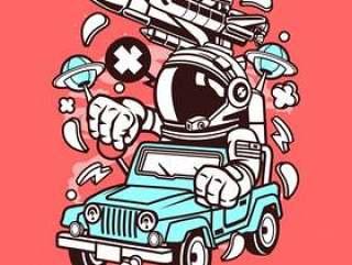 宇航员吉普车司机卡通