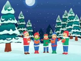 儿童唱圣诞颂歌矢量图
