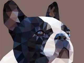 低多矢量设计中的抽象法国斗牛犬画像