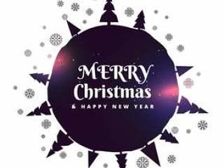 圣诞快乐圣诞背景与树木和雪花