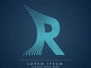 抽象的创意点徽标字母R