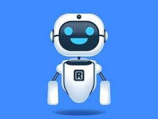 在蓝色背景概念例证隔绝的机器人快乐