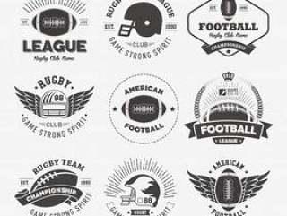 橄榄球徽章和标签集合矢量素材下载