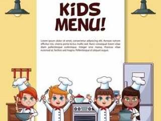 与厨师漫画的小厨师的孩子菜单海报