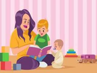 保姆和孩子一起读书矢量