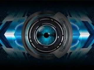 蓝眼睛网络电路未来技术概念背景