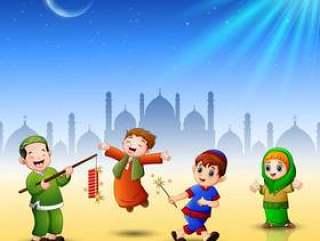 愉快的孩子为eid穆巴拉克庆祝有清真寺背景