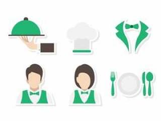 平的食堂服务员和女服务员向量