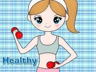 可爱的女孩健身身体健康