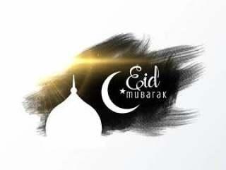 与清真寺和水彩作用的eid穆巴拉克卡片设计