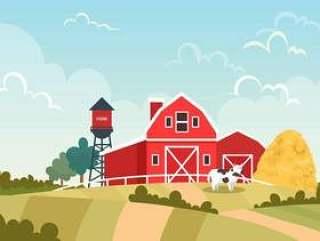 农场传染媒介场面的红色谷仓