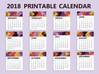 2018可打印日历矢量