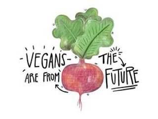 与刻字的水彩插图大头菜