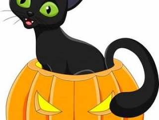动画片滑稽的猫用万圣夜南瓜