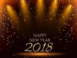 与金色五彩纸屑的新年快乐党背景