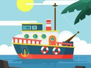 拖网渔船在平面设计中的插图