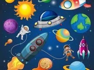 太空中的宇航员和火箭
