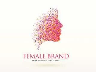 用点粒子做的女人的脸标志设计