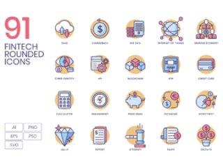 91金融科技产业的矢量图标,91 Fintech图标|奶油糖果系列