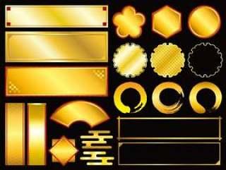 金色的日本风格框架集