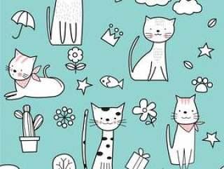 可爱猫咪无缝模式