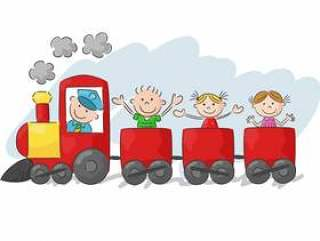 Happy little kids on a colorful train